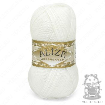 Пряжа Angora Gold Ализе, цвет № 55 (Белый)