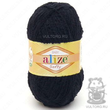 Пряжа Alize Baby Softy, цвет № 60 (Чёрный)