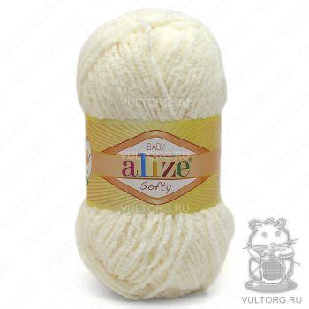 Пряжа Alize Baby Softy, цвет № 62 (Светло-молочный)