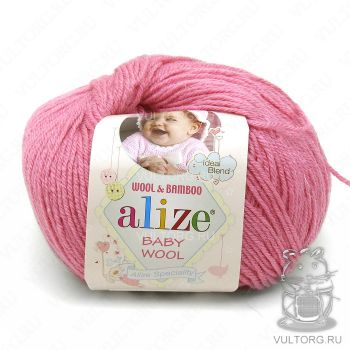 Пряжа Baby Wool Ализе, цвет № 33 (Темно-розовый)