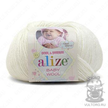 Пряжа Alize Baby Wool, цвет № 55 (Белый)
