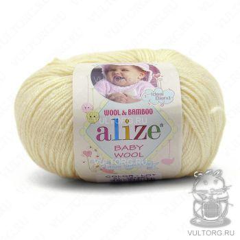 Пряжа Alize Baby Wool, цвет № 01 (Кремовый)