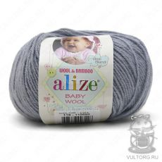 Пряжа Baby Wool Ализе, цвет № 119 (Серое небо)