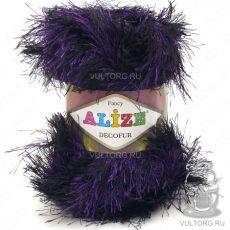 Пряжа Alize Decofur, цвет № 1380 (Чёрный с фиолетовым меланж)