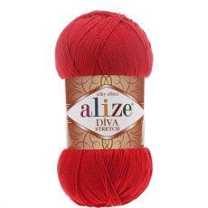 Пряжа Alize Diva Stretch, цвет № 106 (Красный)