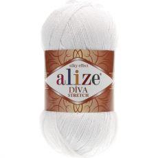 Пряжа Alize Diva Stretch, цвет № 55 (Белый)