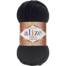 Пряжа Diva Stretch Ализе, цвет № 60 (Черный)