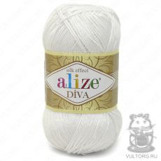 Пряжа Diva Ализе, цвет № 55 (Белый)