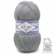 Пряжа Alize Lanagold 800, цвет № 21 (Серый меланж)