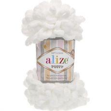 Пряжа Puffy Ализе, цвет № 55 (Белый)