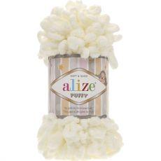 Пряжа Puffy Ализе, цвет № 62 (Светло-молочный)
