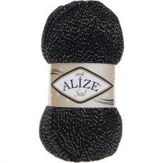 Пряжа Sal Simli Ализе, цвет № 6001 (Черный с серебром)