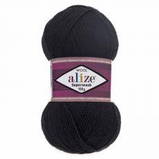 Пряжа Superwash 100 Ализе, цвет № 60 (Черный)
