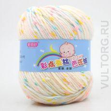 Пряжа Детская Цветной горошек, цвет № 04-В (Молочно-кремовый)