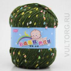 Пряжа Детская Цветной горошек, цвет № 26-В (Армейский зеленый)