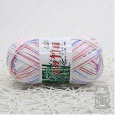 Пряжа Хлопок с бамбуком, цвет № 032 (Принт белый, красный, голубой)