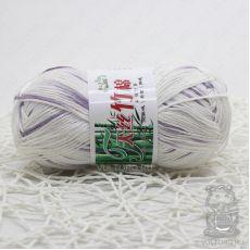 Пряжа Хлопок с бамбуком, цвет № 037 (Принт белый сиреневый)