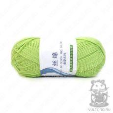 Пряжа Хлопок с шелком, цвет № 12 (Молодая зелень)
