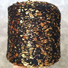 Пряжа Королевские пайетки 3мм+6мм, цвет № 009 (Черный с золотом)
