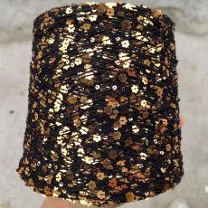 Пряжа Королевские пайетки 3мм+6мм, цвет № 010 (Черный и золотистые цветочки)