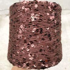 Пряжа Королевские пайетки 3мм+6мм, цвет № 029 (Коричневый)