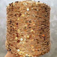 Пряжа Королевские пайетки 3мм+6мм, цвет № 034 (Золотые пески)