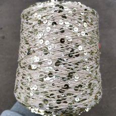 Пряжа Королевские пайетки 3мм+6мм, цвет № 124 (Молочный)