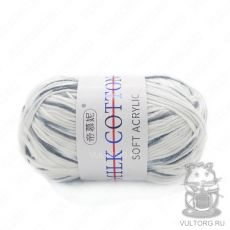 Пряжа Милк Коттон Принт Софт, цвет № 08 (Белый и серый)