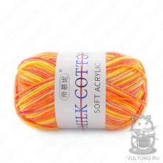 Пряжа Милк Коттон Принт Софт, цвет № 12 (Оранжевый, розовый, желтый)