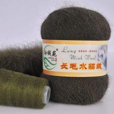 Пряжа Пух норки, цвет № 024 (Армейский зеленый)