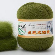 Пряжа Пух норки, цвет № 037 (Зеленая трава)