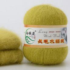 Пряжа Пух норки, цвет № 039 (Горчично-зеленый)