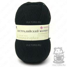 Пряжа Австралийский меринос Пехорка, цвет № 02 (Чёрный)