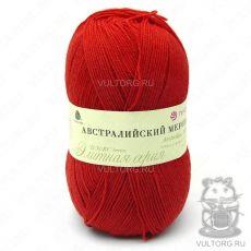 Пряжа Австралийский меринос Пехорка, цвет № 06 (Красный)
