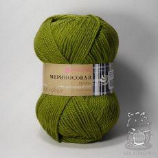 Пряжа Пехорка Мериносовая, цвет № 252 (Зеленый горошек)