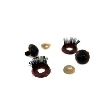 Глазки и веко с ресничками №12 (коричневый)