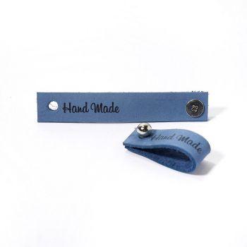 Кожаная бирка Hand Made с кнопкой 1.3х7см (Джинс)