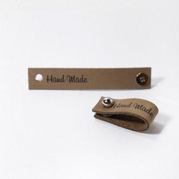 Кожаная бирка Hand Made с кнопкой 1.3х7см (Капучино)