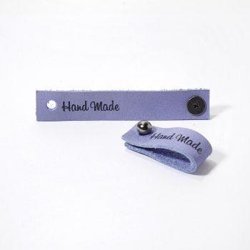 Кожаная бирка Hand Made с кнопкой 1.3х7см (Сиреневый)