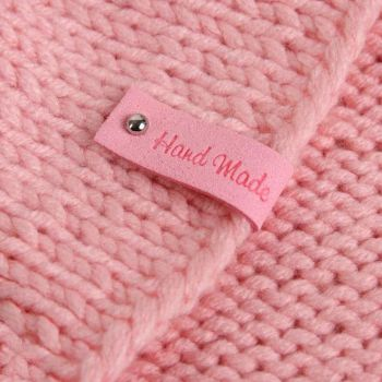 Нашивка Hand Made 8х1.5см (Розовый)