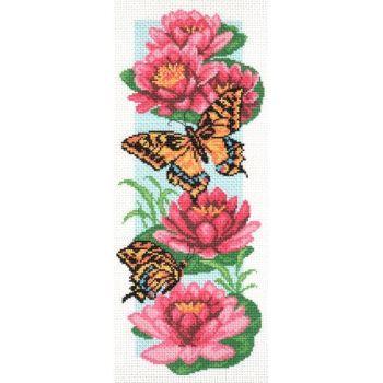Бабочки и нимфеи (24х47)