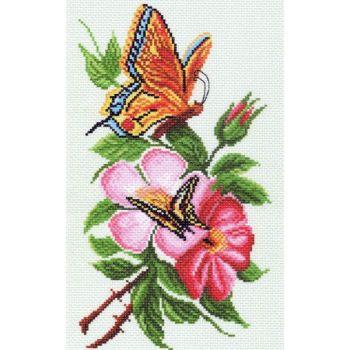 Бабочки и цветы (28х37)