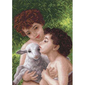 Дети и овечка (37х49)
