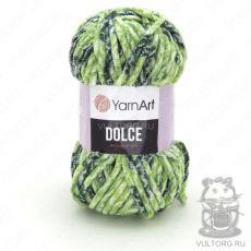 Пряжа YarnArt Dolce, цвет № 808 (Белый, салатовый, зеленый)