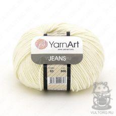Пряжа Jeans YarnArt, цвет № 03 (Молоко)