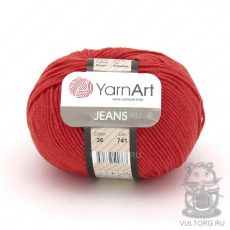 Пряжа YarnArt Jeans, цвет № 26 (Красный)