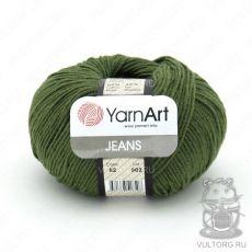 Пряжа YarnArt Jeans, цвет № 82 (Темно-оливковый)